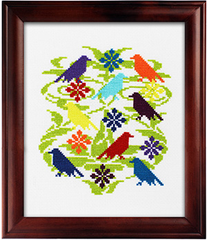 Beautiful Birds Pattern Using the New DMC Color Pack