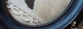 vintage cameo witch profile cross stitch pattern