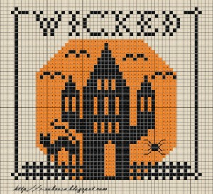 haunted house halloween free cross stitch pattern from subrosa