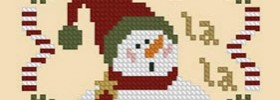 Fa La La Snowman Ornament Free Cross Stitch Pattern from Plum Pudding Needleart