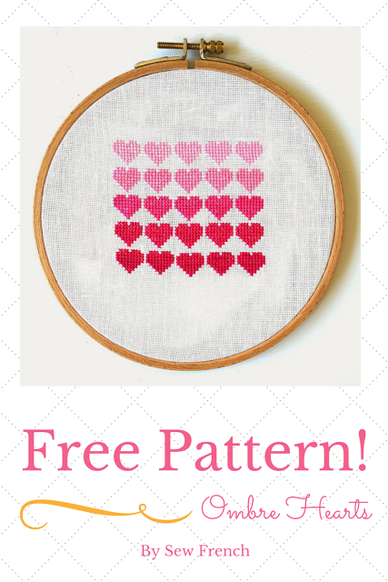 Pink Ombre Hearts free cross stitch pattern from Sew French